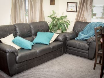 Therapist's office couch